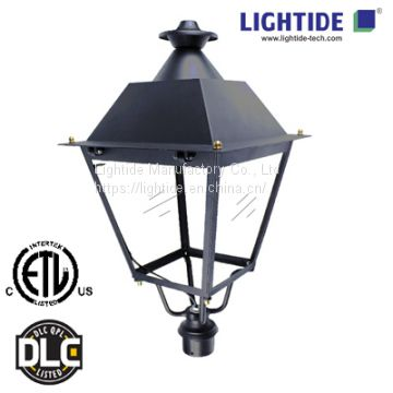 DLC qualified Street LED Post Top Light Fixtures, 50W, 120-277VAC, 5100 lm, 5000K, 5 yrs warranty