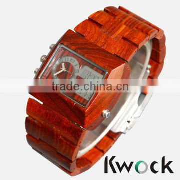 Men's Greenwood 100% Natural Solid Wood Wristwatch Green Light LED Display &Top Luxury Japan Quartz Dual Movement Timepieces