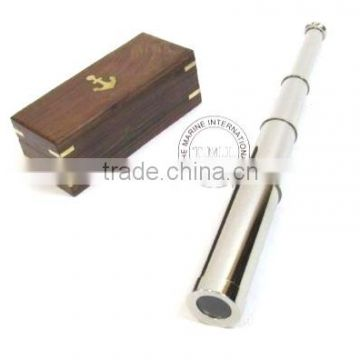 "PIRATED NICKEL PLATED BRASS TELESCOPE 14"" WITH WOODEN BOX - NAUTICAL MARINE TELESCOPE"