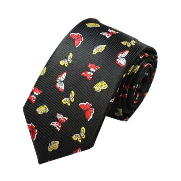 Yellow Summer Mens Jacquard Neckties Plain Satin