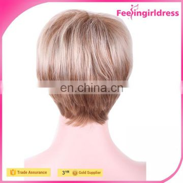 26CM Women Short Brown Blonde Fashion Party Hair Wigs