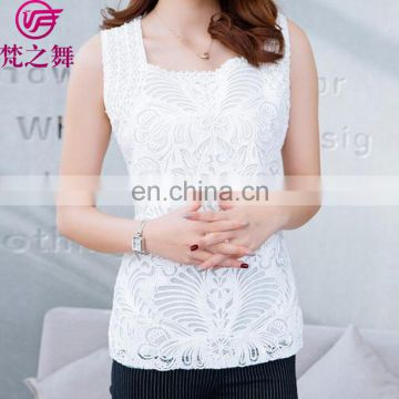 Sexy sequins black and white embroidery lady sleeveless top