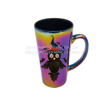 High quality multicolor ceramic electroplated mug -16oz