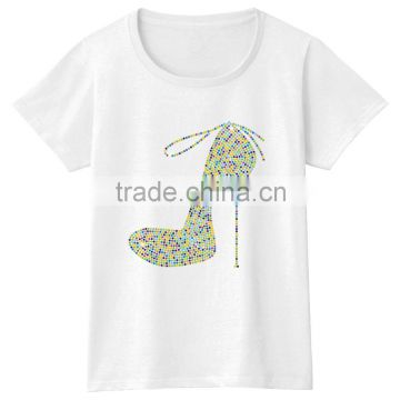 High heels short sleeves cotton color story girls tshirt