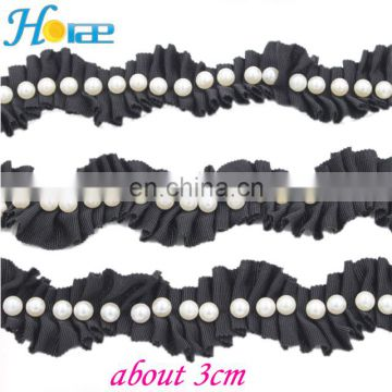 New Arrival ribbon Trimming decorative Lace Trim with pearls for garment