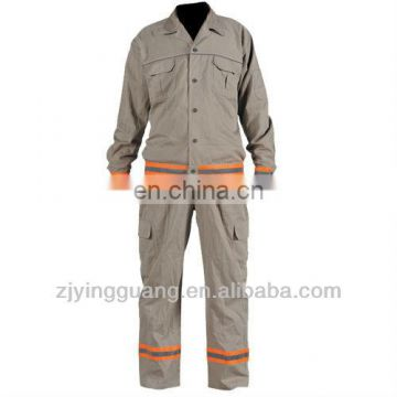 100% Cotton Twill Fabric Long Sleeves Safety Work Coverall With Reflective Tape