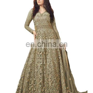 2017 Wedding Parrty Wear Net Anarkali Style Lehenga Suits (Semi-Stitched)