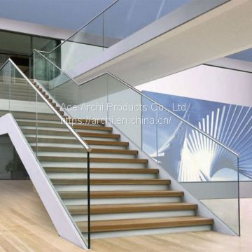 Indoor Stair U Channel Balustrade Aluminum Glass Railing
