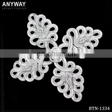 Chinese leaves shape fabric button with knot for Tang suit
