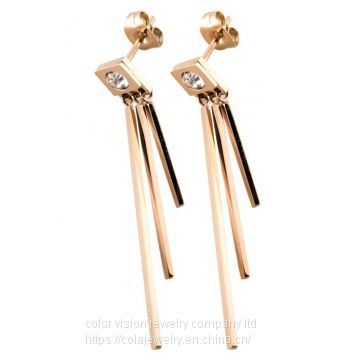 Queen′s Jewellery Fashion Stainless Steel Letter Square Tassel Long Earrings Rose Gold Earring