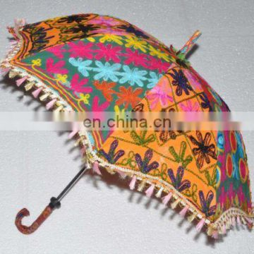 Sun Parasol Vintage Decor Umbrella Women's Cotton Embroidered Umbrellas Maroon Ethnic Sun Protector Parasol Indian Embroidered
