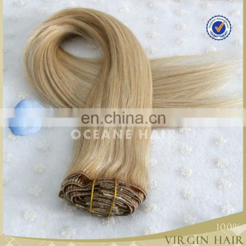 Double weft remy clip in hair extension 220 grams suppliers china