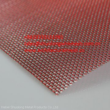XY-R-07 Laminated Glass RED &SILVER ART MESH