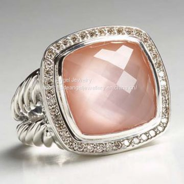 Sterling Silver 14mm Square Rose Quartz Albion Ring for Women