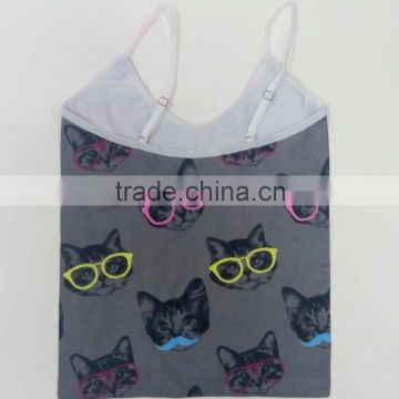 Wholesale Comfortable Seamless Children Clothes Animal Picture Printed With Adjustable Straps Kids Tank Tops