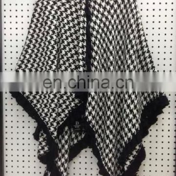 black and white winter acrylic poncho shawl&kick pleat scarf big scarf, wool shawl polyester scarf