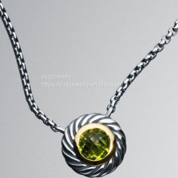 Sterling Silver Jewelry Large Peridot Color Classics Necklace(N-057)