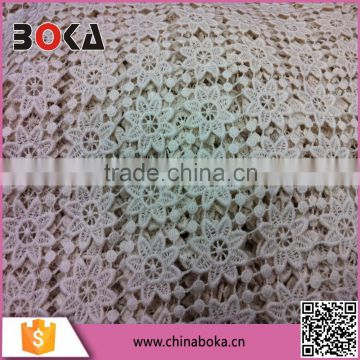 2015 BOKA Offwhite Flower Pattern Lace Cotton Fabric Factory Direct Sales Trimming Water Soluble Lace Fabric