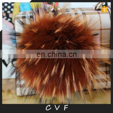 Big real raccoon fur pom pom thick round fur ball keychain pendant