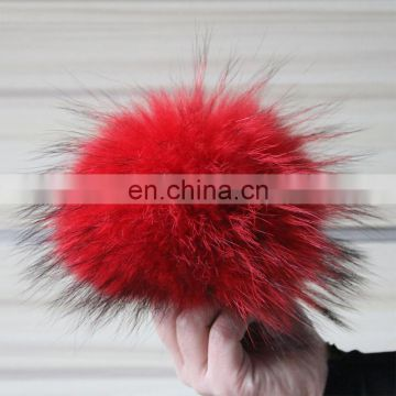 Fluffy full dyed color raccoon fur ball for key rings/shoes/bag carm