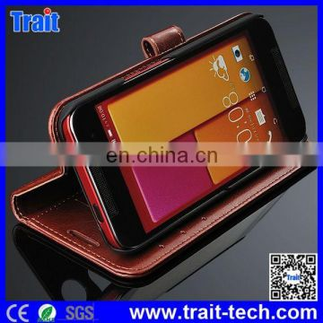 Crazy Horse Magnetic Buckle Flip Stand PU Leather Case for HTC Butterfly2 with Card Holder