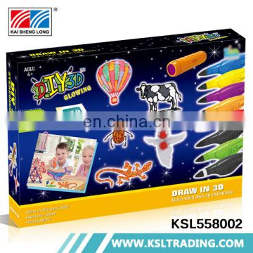 Children toys play game diy model glow in the dark 3d printing pen set