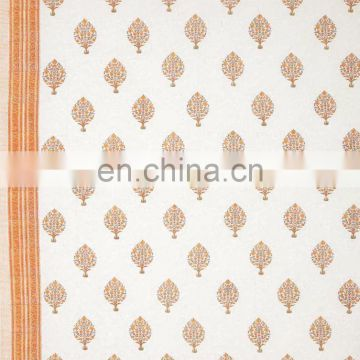 White Orange Block Print Bedsheet