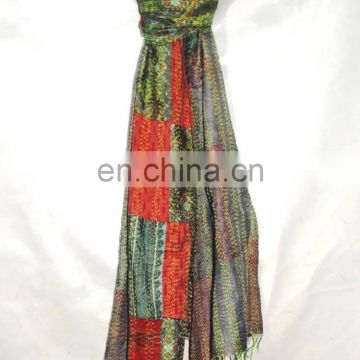 Indian Hand Embroidery Silk Stole Women Wrap Shawls Long Dupatta Stole Patchwork Kantha Shawl