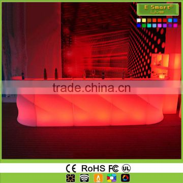 Wave Shape Led Plastic Bar Counter,Illuminated Led Bar Counter,Glowing up Bar Furniture for Cool Barclub Party Wedding KTV Hotel