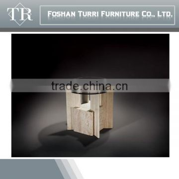 Iran natural travertine base round glass side table