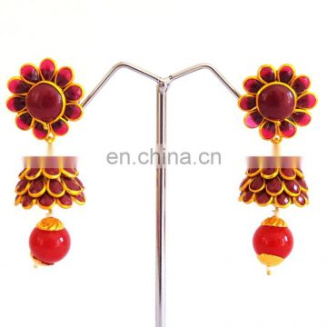 Indian handmade jhumka earrings-Indo Western pachi work jhumka earrings Online wholesale pachi jhumka earring - jewelry 2015