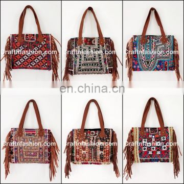 Latest Indian 2017 Vintage Embroidery Fringes Handbag- Indian 2017 Stylish Banjara Leather Fringes Handbag- Vintage Banjara bag