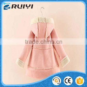 beautiful cute baby kids clothes suede lamb wool winter overcoat with hood