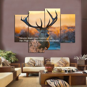 Oil Painting Wholesale 4 Panel HD Canvas Printings Nordic Deer Head for Home Decoration Animal Oil Paintings