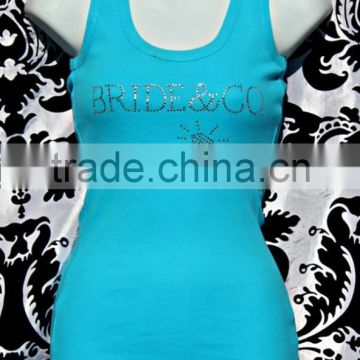 OEM Wholesale Comfortable rhinestone womens 95% cotton 5% spandex tank top