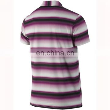 Custom blue stripe golf polo shirt for men