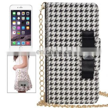 New Design Plaid Texture Wallet Style Leather Case with Chain & Card Slots for iPhone 6