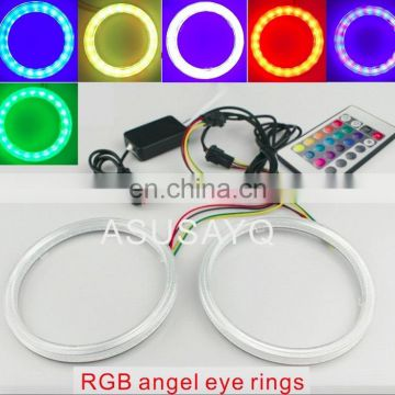 RGB universal car cob led angel eyes auto headlight RGB halo ring kit with remote controller 60/70/80/90/100/100/110/120mm