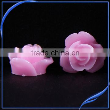 Bulk sale 12mm Resin artificial pink flowers beautiful 12mm rose resin flower For Jewelry & Phone Case & Nail Art -zhiya factory