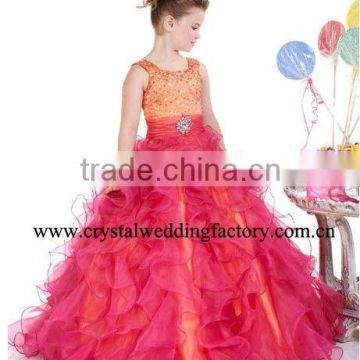 Beaded orange red tiered ruffled custom-made ball gown junior girls pageant dresses CWFf4645
