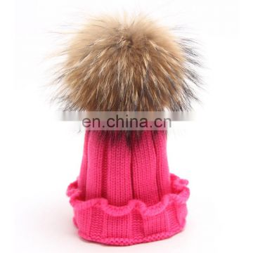 Autumn/Winter real fur knitted hats for child with natural raccoon