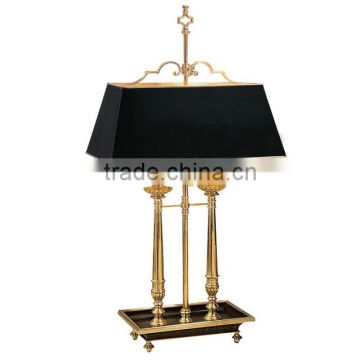 Brown unusual antique side table lamp with shade