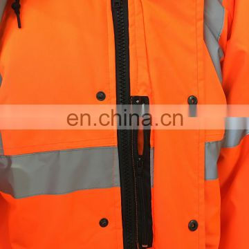2017 Factory Supply High Visibility fluorescent orange Reflective Safety Raincoat with reflective strips