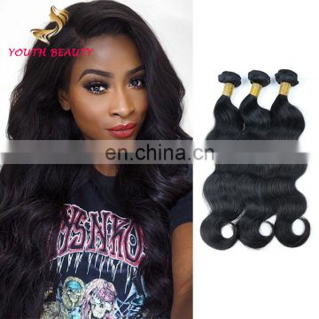 Factory price 100% brazilian human virgin 9A grade hair weaving in body wave style raw unprocessed hair