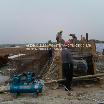 diameter 900mm, 15meter long pneumatic tubular form for ring culvert construction, double-rings culvert construction