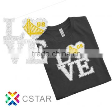 GS love Bling Glitter Hot Fix OEM service For Tshirt Motif