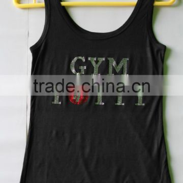 Gym modal rhinestone dry fit tank top wholesale