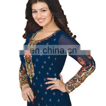 Woman's Blue Casual Party Wear heavy Embroidery Georgette Semi-Stitched Suits 2017 Collection (salwar kameez Suit)