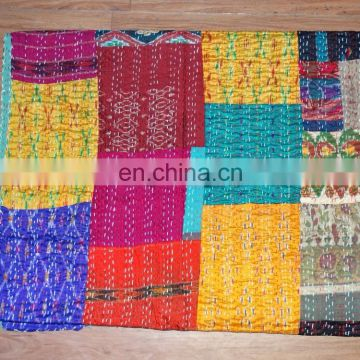 Indian Hand Stitched Vintage Kantha Vintage reversible patchwork Old Patola Kantha
