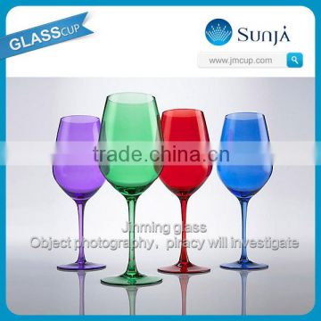 Glass house ware retro alochol glassware colored wine glass goblet customed engraved goblets colored wine glass goblet